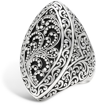 Lois Hill Sterling Silver Granulated & Scroll Marquise Ring