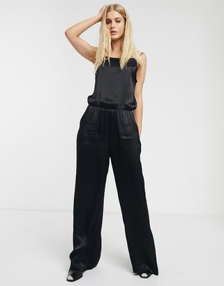 Weekday Fion satin jumpsuit with cami straps in black