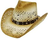 Modestone Unisex Sheriff Star Concho Straw Cowboy Hat Tan Brown
