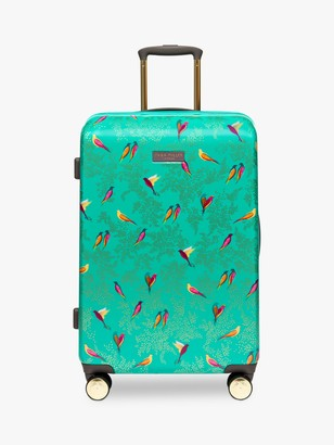 Sara Miller Green Birds 67cm 4-Wheel Medium Suitcase, Green