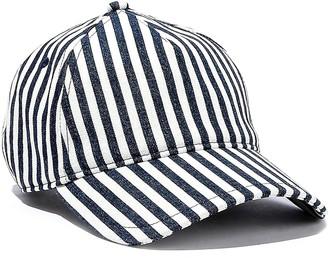Rag & Bone Marilyn Leather-trimmed Striped Denim Baseball Cap