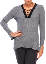 Democracy Lace-Up Ribbed Top