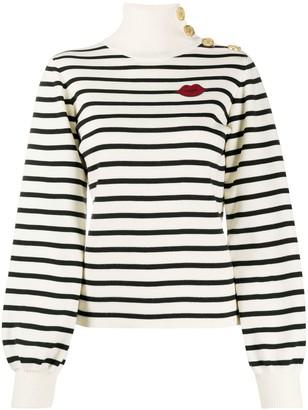 RED Valentino Buttoned-Shoulder Striped Jumper