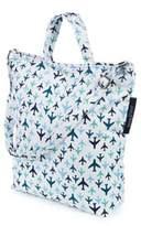 Keep Leaf Planes Print Organic Cotton Shoulder Tote Bag in Blue