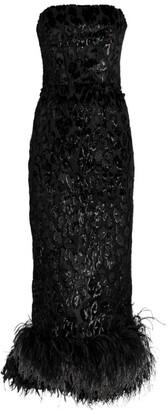 16Arlington Minelli Feather Trim Devore Dress