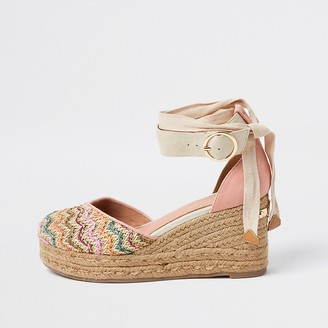 River Island Brown lace-up ankle espadrille wedge sandals