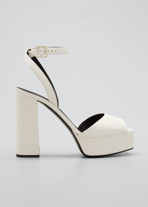 Giuseppe Zanotti Patent Platform Ankle-Wrap Sandals