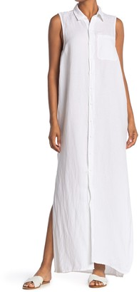 NSF Brooklyn Linen Blend Button Down Maxi Dress
