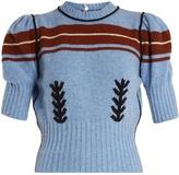Miu Miu Embroidered and striped-intarsia wool knit sweater