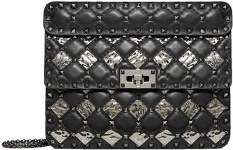 Valentino Black Leather with Metal Rhombus Detail Medium Rockstud Spike Shoulder Bag