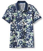 Lands' End Men's Slim Fit Print Mesh Polo Shirt-Evening Cobalt Stripe