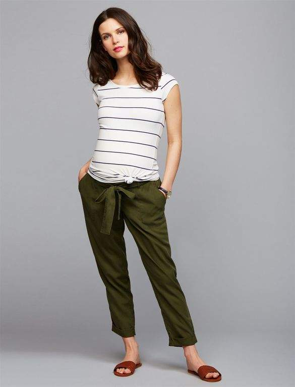 A Pea in the Pod Under Belly Skinny Leg Maternity Crop Pants