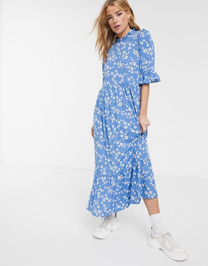 Asos DESIGN smock maxi dress in blue daisy print