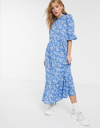 Asos DESIGN smock maxi dress in blue daisy print