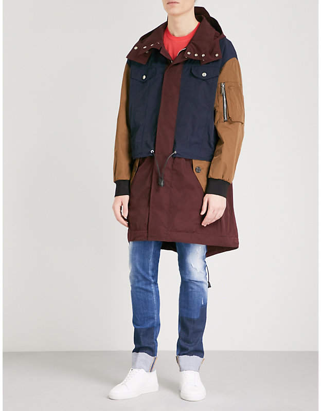 DSQUARED2 Layered and panelled shell parka coat