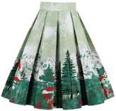 YACUN Women's Casual Printed A-line Swing Skirt L