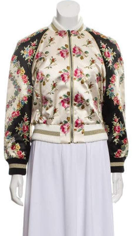 b04683f7 Rose Print Silk Bomber Jacket w/ Tags multicolor Rose Print Silk Bomber  Jacket w/ Tags