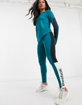 Reebok training essentials linear logo leggings in heritage teal