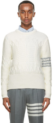 Thom Browne Off-White Wool Aran Cable 4-Bar Sweater