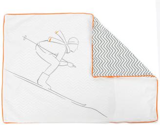 Sylvie Thiriez - King Size Retro Skier Duvet Cover - White/Grey/Orange