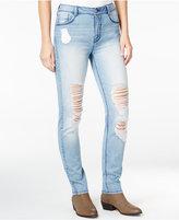 Rewash Juniors' Ripped High-Waist Light Wash Skinny Jeans