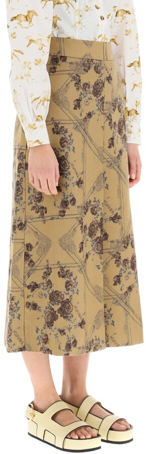 Thumbnail for your product : Ganni JACQUARD BROCADE MIDI SKIRT 38 Brown,Beige
