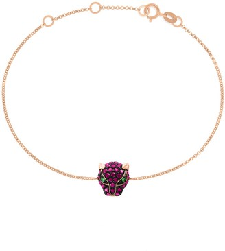 Effy 14K Rose Gold, Ruby & Tsavorite Panther Chain Bracelet