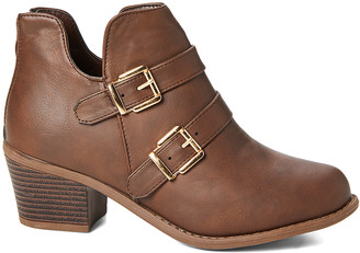 Ameta Women's Casual boots Brown - Brown Double-Buckle Ankle Bootie - Women
