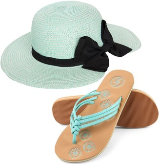 Aerusi Miss Anderson Floppy Straw Sun Hat and Foam Flip Flop Sandals Bundle Set