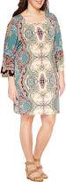 Tiana B Long Split Sleeve Knit Sheath Dress-Plus