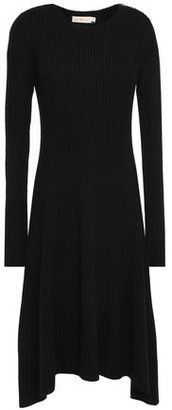Tory Burch Asymmetric Melange Ribbed Merino Wool Dress