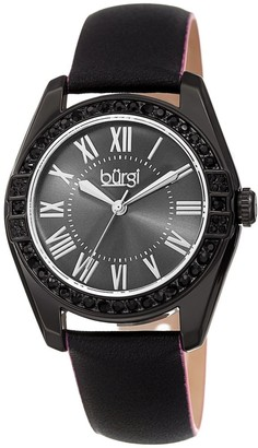 Burgi Ladies Swarovski Crystal Sunray Dial Black Leather Strap Watch