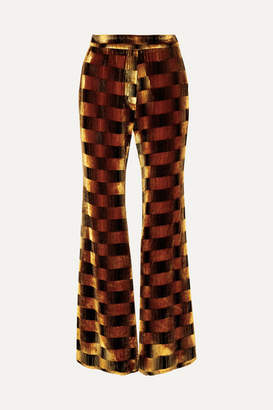 Ellery Alvar Checked Velvet Flared Pants - Copper