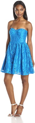 Minuet Women's Strapless Lace Skater Dress with Beaded Waist