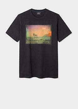 Men's Black 'UFO Zebra' Print Organic-Cotton T-Shirt