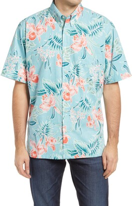 Reyn Spooner Orchid Bloom Tropical Floral Short Sleeve Button-Down Shirt