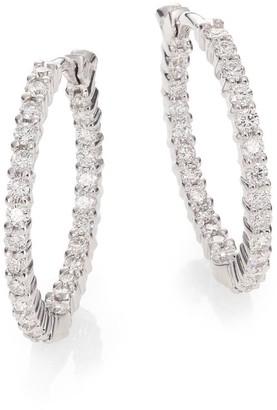"""Roberto Coin Diamond & 18K White Gold Inside-Outside Hoop Earrings/0.85"""""""