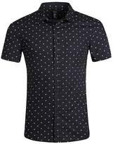 NUTEXROL Men's Star Print Dress Shirt Short Sleeve Cotton