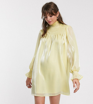 Glamorous high neck swing dress with shirring in organza-Yellow