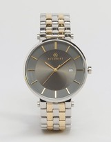 Accurist Mixed Metal Bracelet Watch With Gray Dial