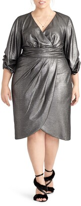 Rachel Roy Metallic Faux Wrap Dress