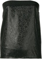 Romeo Gigli Pre Owned glittery embroidery strapless top