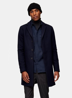 Topman SELECTED HOMME Navy Wool Blend Overcoat