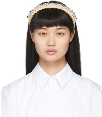 Simone Rocha Beige Raffia Embellished Headband