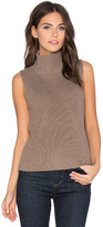 525 America Turtleneck Sleeveless Sweater in Taupe