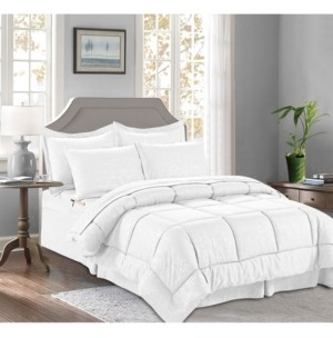 Elegant Comfort 8-Piece Bamboo Bed-in-a-Bag Comforter Set Includes Bed Sheet Set with Double Sided Storage Pockets King/Cal King Bedding