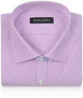 Forzieri Slim Fit White and Pink Check Cotton Dress Shirt