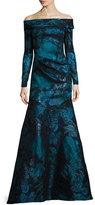 Theia Off-the-Shoulder Floral Metallic Gown, Teal/Black