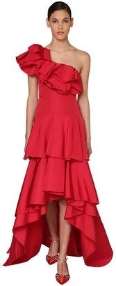 Johanna Ortiz One Shoulder Ruffled Silk Faille Dress