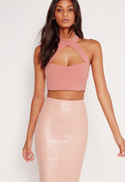 Missguided Choker Plunge Crop Top Pink